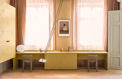 Pastel-hued Stockholm apartment by Note Design Studio lists for 24m SEK