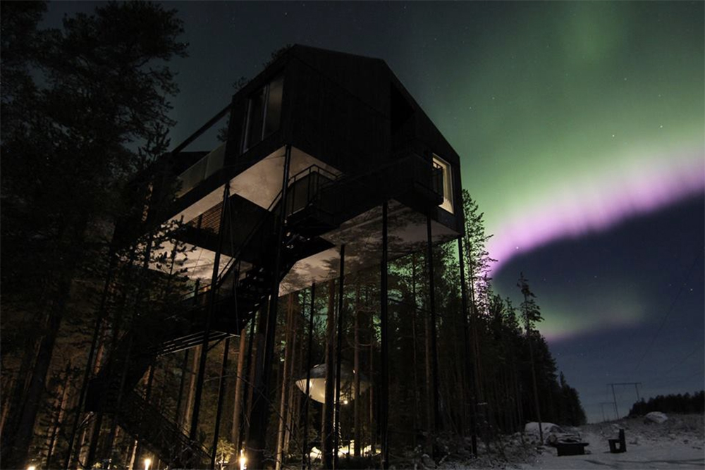7th-room-Treehotel by Snohetta, which has views of the Northern Lights in winter and midnight sun in summer