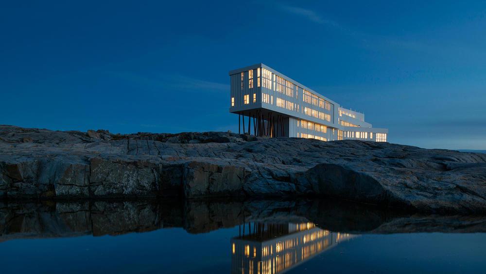 Fogo Island Inn in Newfoundland where you can see the Northern Lights swirling overhead
