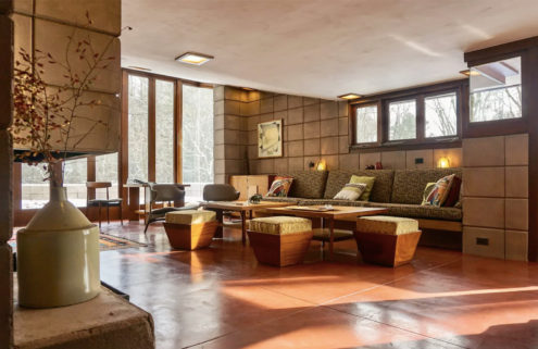 Frank Lloyd Wright's restored Eppstein House is for rent in Michigan