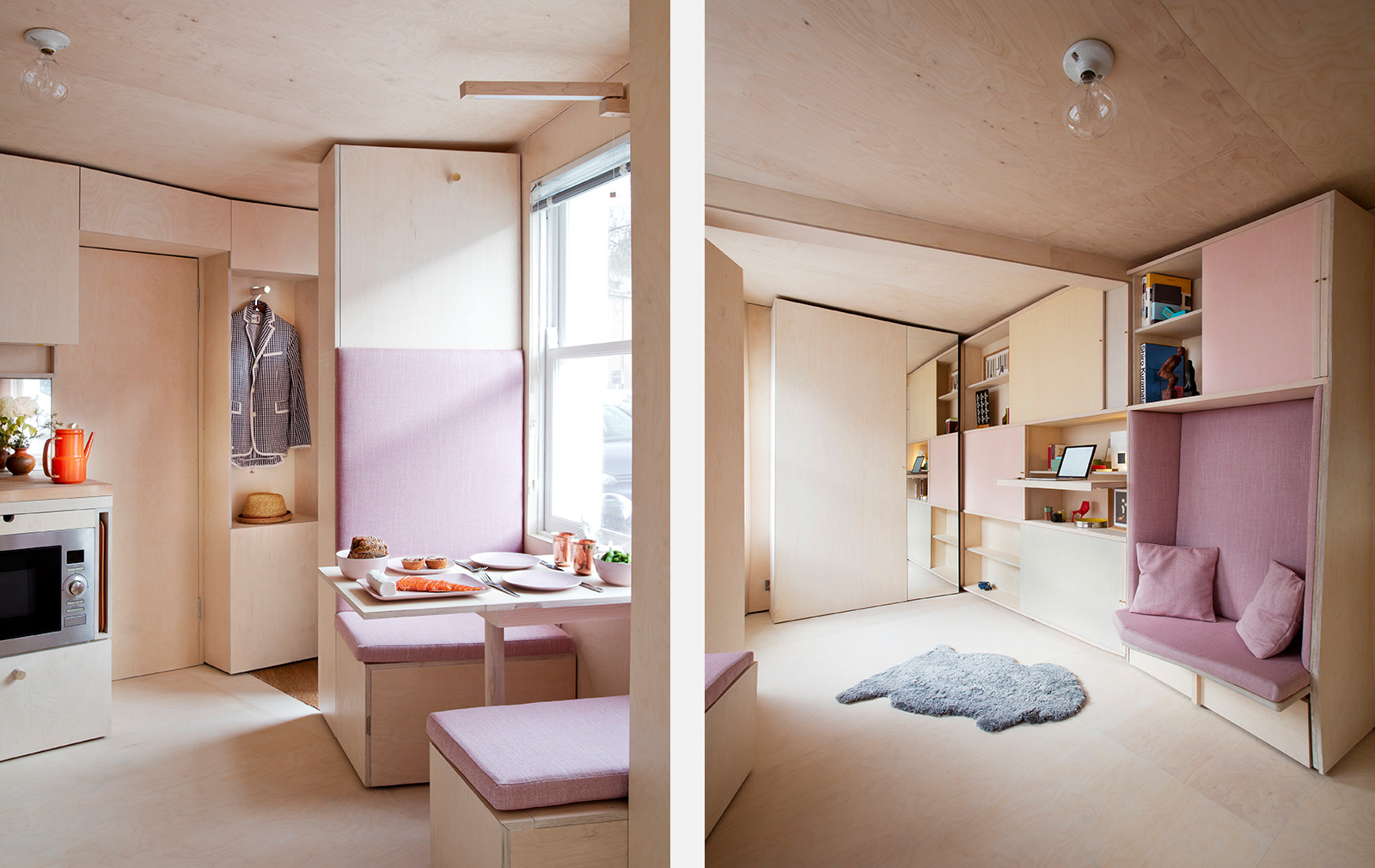 Micro home apartment designed by Courtesy of Studiomama