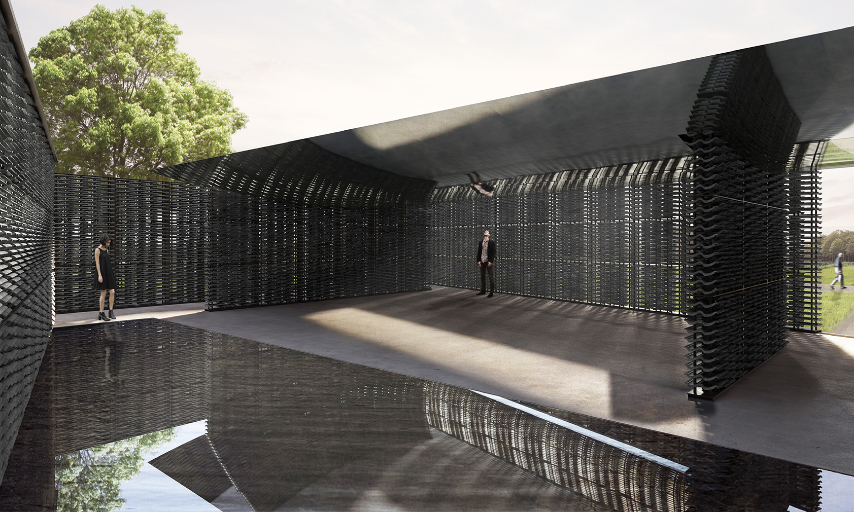 Serpentine Pavilion 2018 designed by Frida Escobedo, Taller de Arquitectura, interior view © Frida Escobedo, Taller de Arquitectura. Renderings by Atmósfera