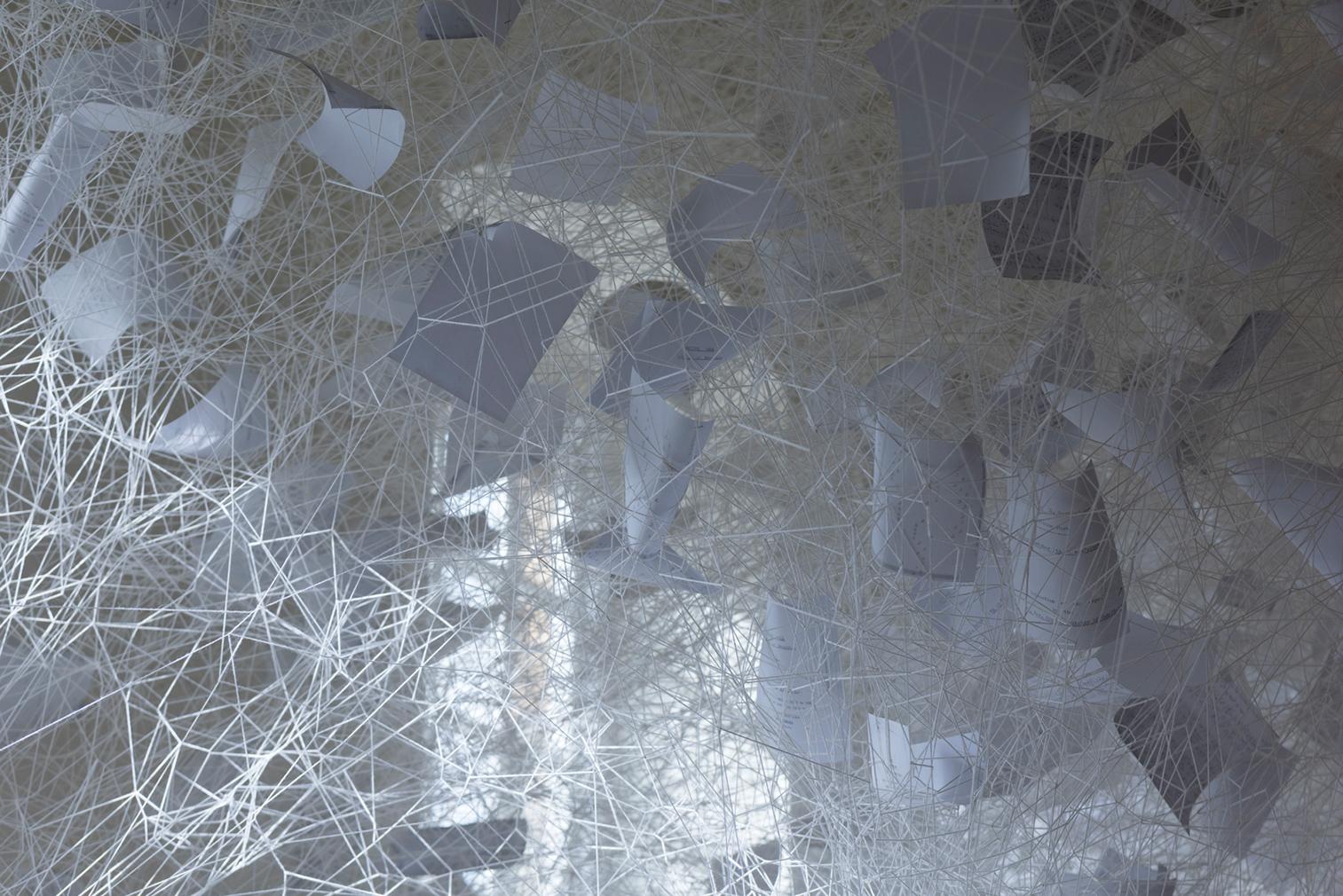 Chiharu Shiota, Beyond Time, 2018. White thread, metal piano, musical notes. (c) VG Bild- Kunst, Bonn, 2018 and the artist. Courtesy Yorkshire Sculpture Park. Photography: Jonty Wilde