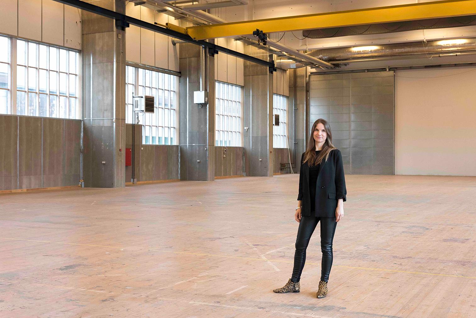 Director Marie Nipper inside hall 1. Copenhagen Contemporary, 2018. Photography: David Stjernholm