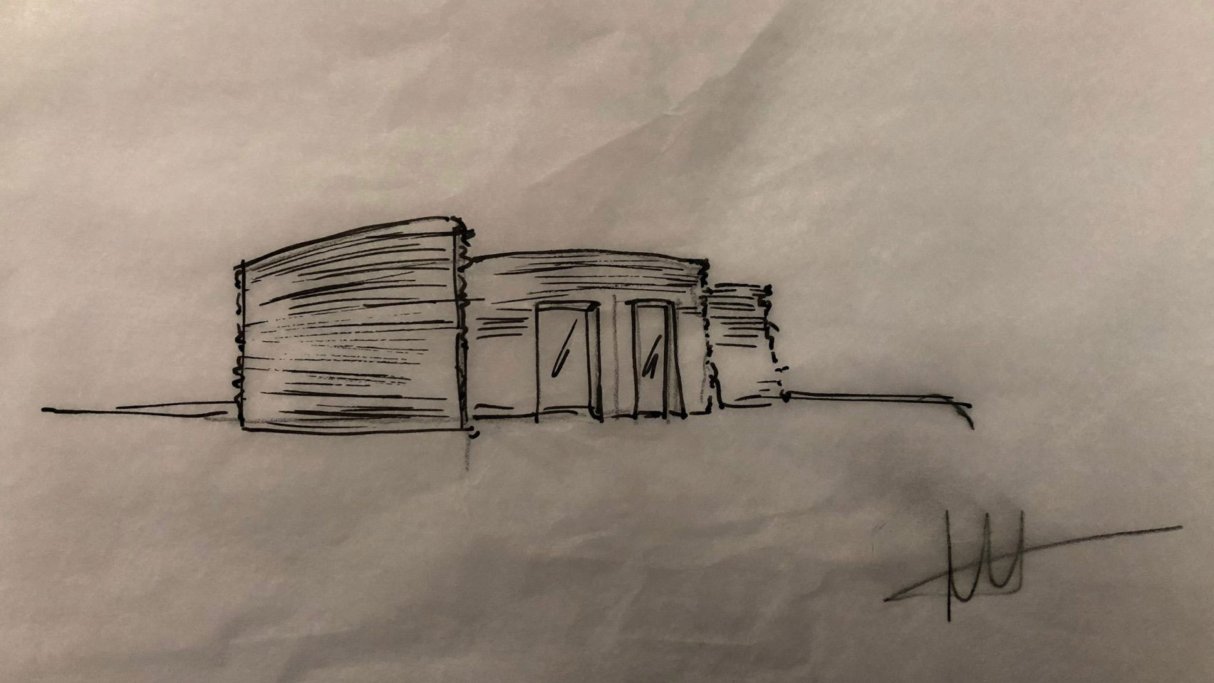 A sketch of CLS Architetti's 3D printed house