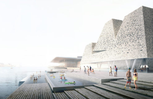 Kengo Kuma is building a pyramid-like aquatic centre on Copenhagen's Paper Island