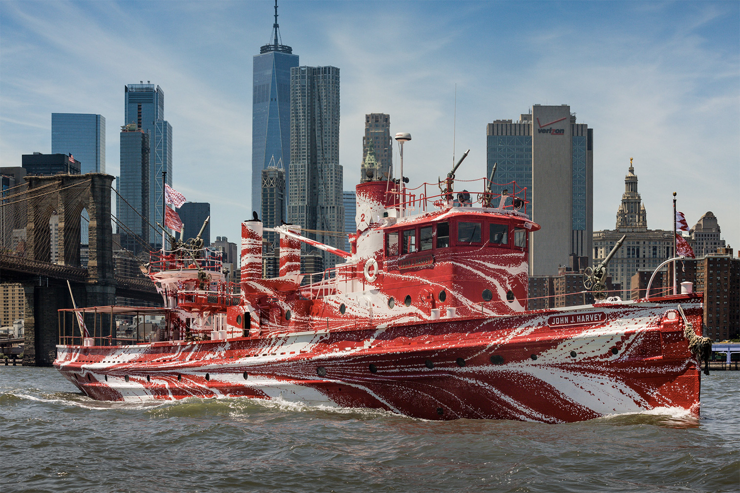 Dazzling fireboat artwork by Tauba Auerbach drops anchor in New York