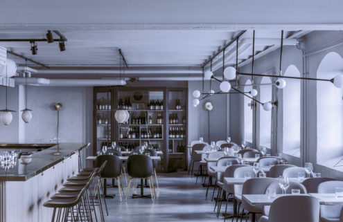 Muted tones set the scene inside Helsinki's Maannos restaurant