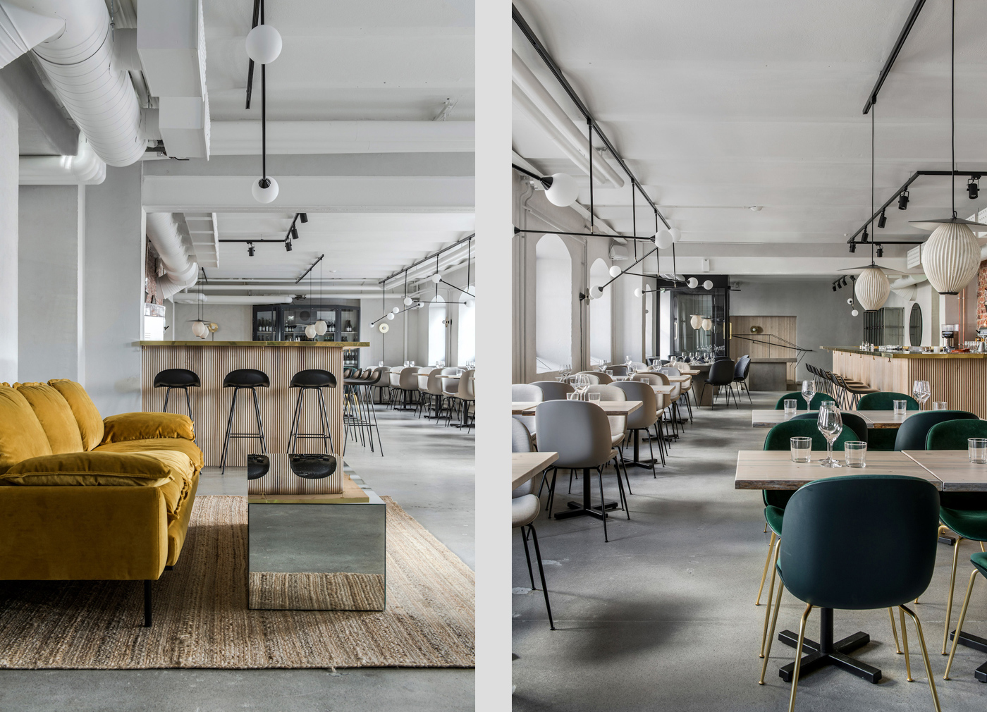 Muted tones set the scene inside Helsinki's Maannos restaurant