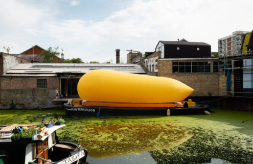 An inflatable theatre pops up on Regent's Canal in east London