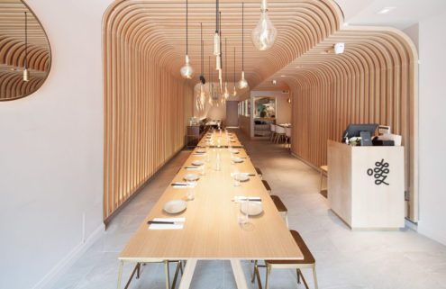 New York noodle joint Hunan Slurp is shaped like a wooden cocoon