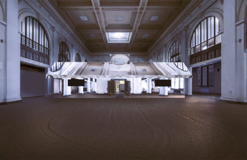 Doug Aitken is building a mirrored house inside an old Detroit Bank