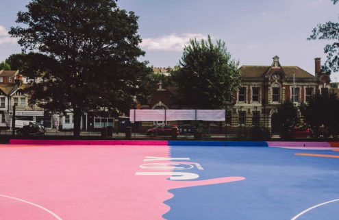 Lois O'Hara gives a Brighton basketball court a kaleidoscopic paint job