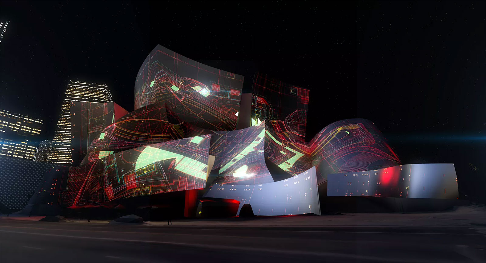 Walt Disney Concert Hall transformation by Refik Anadol Studio