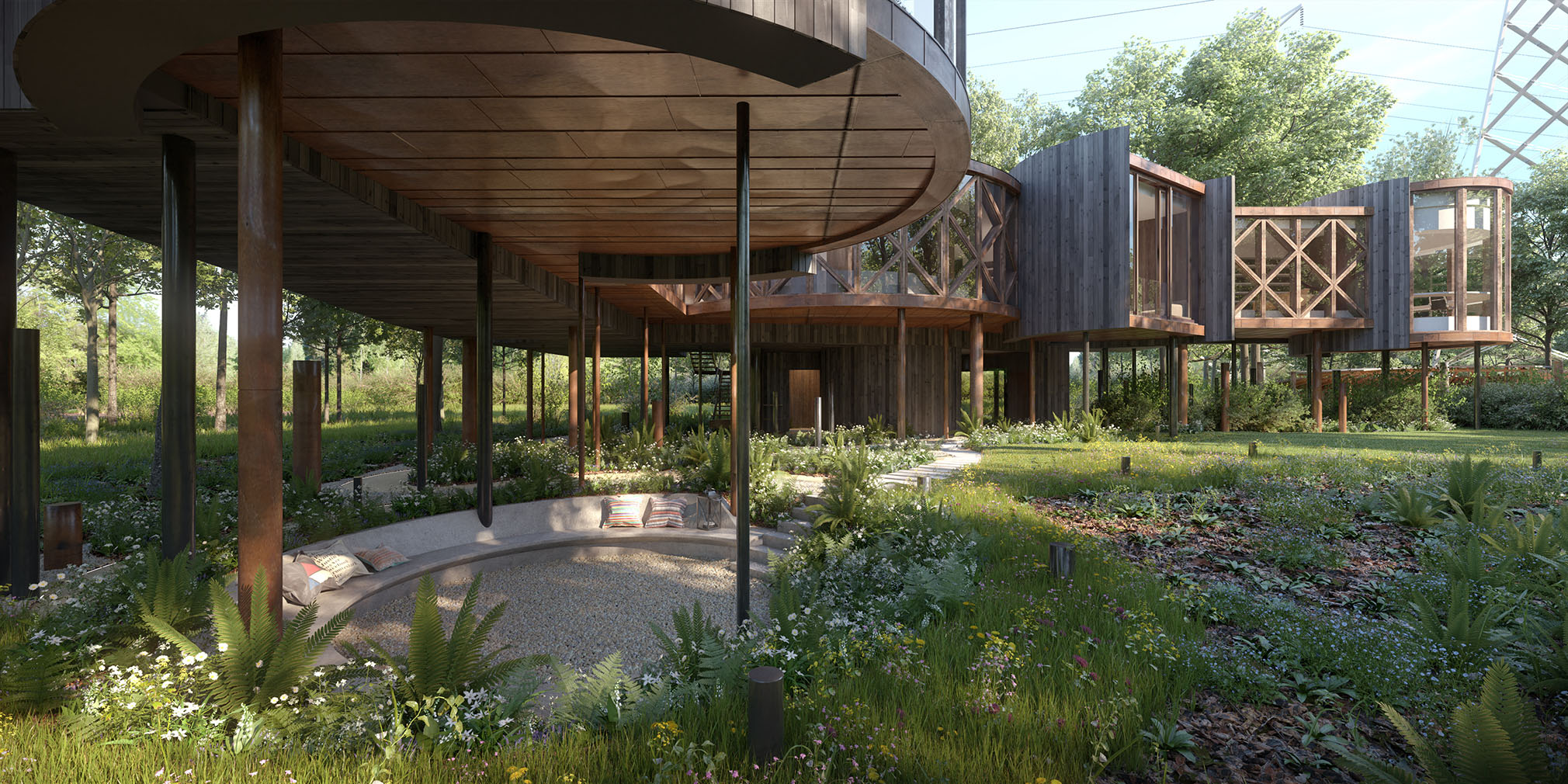 Exterior visualisation of unbuilt treehouse home with planning permission hits the market in Ewes, Gloucestershire