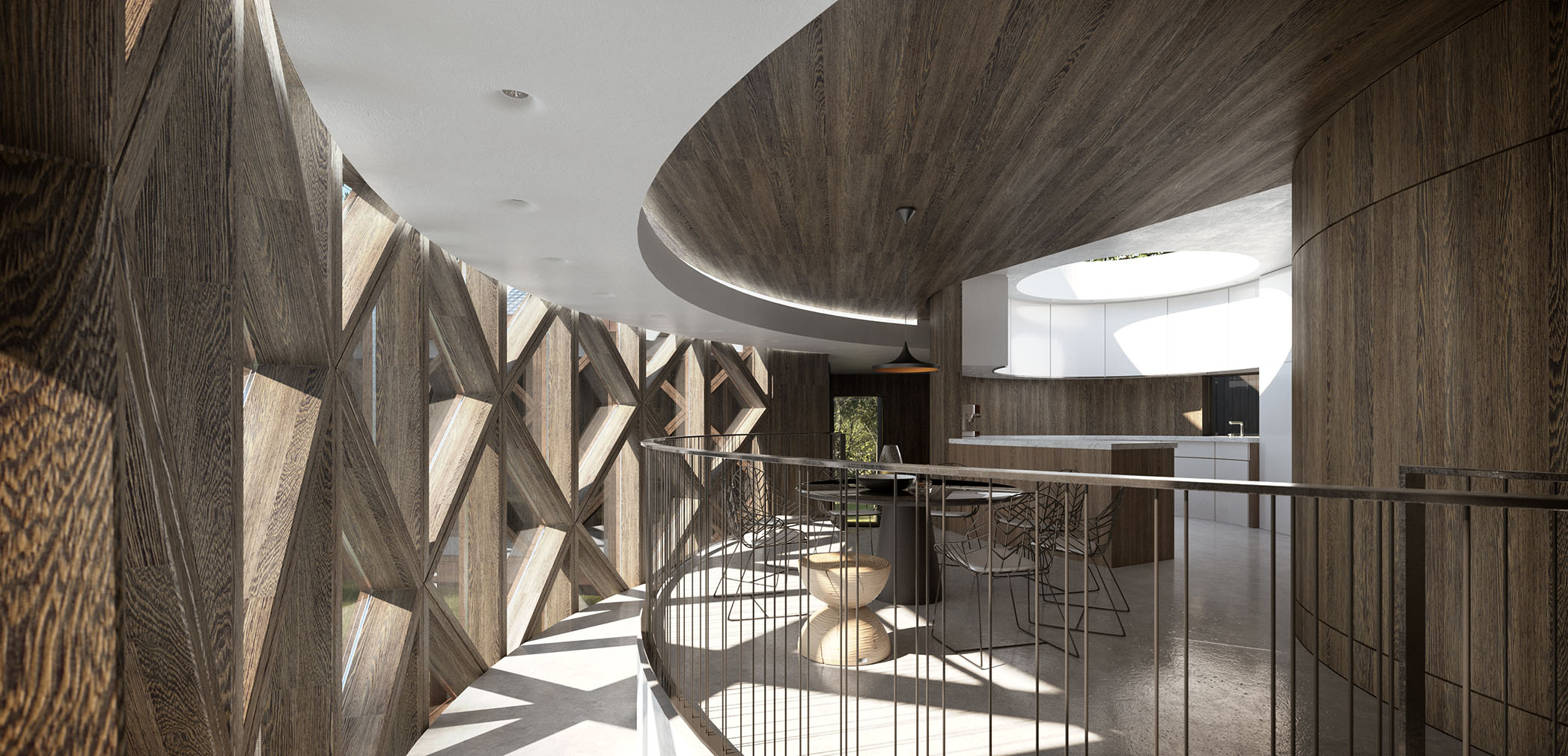 Interior render of unbuilt treehouse home with planning permission hits the market in Ewes, Gloucestershire