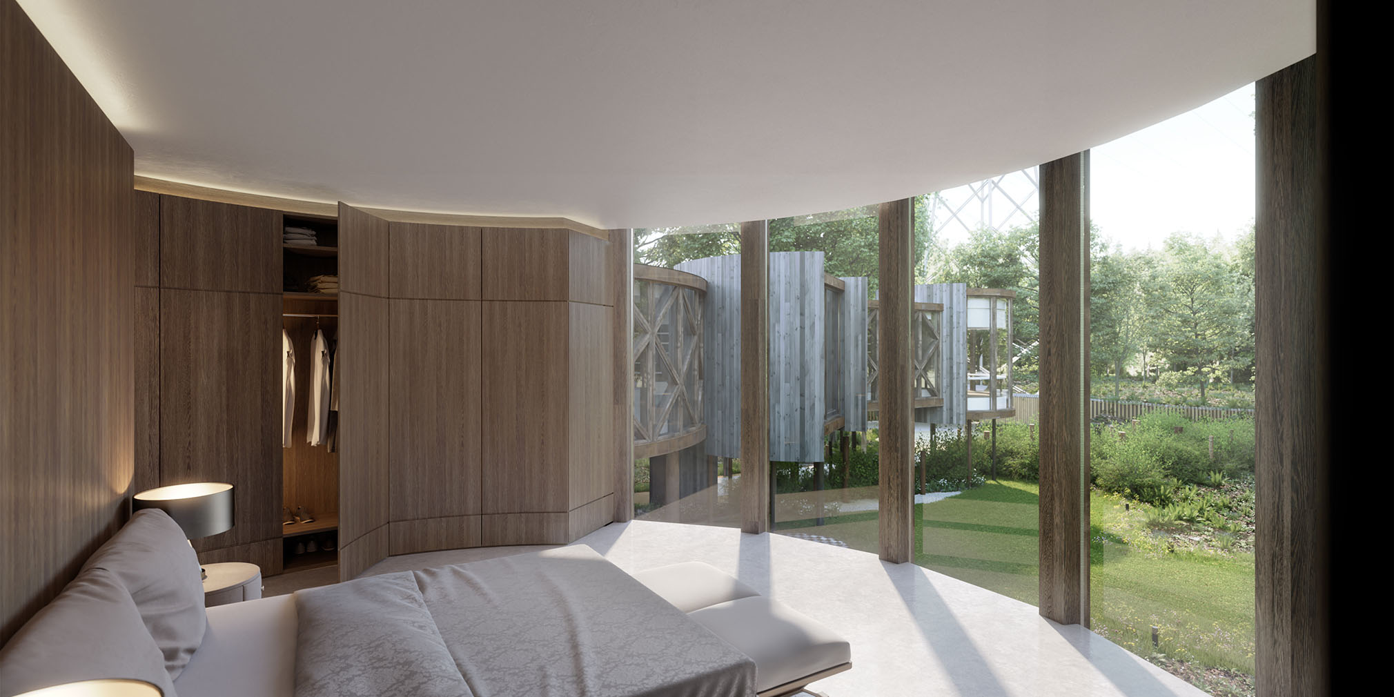 Interior visualisation of unbuilt treehouse home with planning permission hits the market in Ewes, Gloucestershire