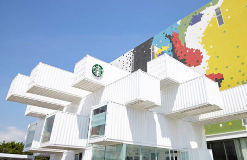 Kengo Kuma builds a Starbucks from 29 shipping containers
