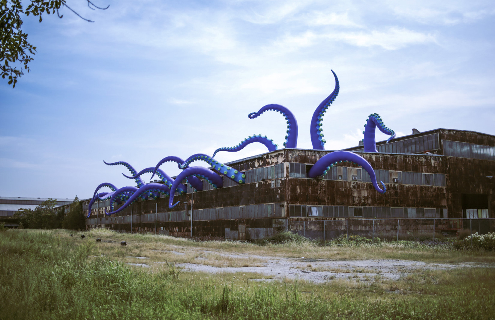 An inflatable sea monster invades a Philadelphia warehouse