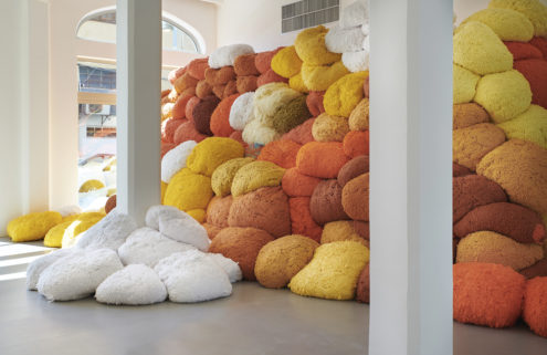 Sheila Hicks installs giant fibre sculptures inside Jaffa's Magasin III