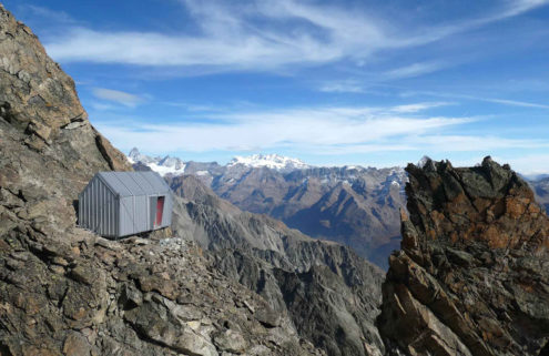 Tiny Alps hut clings to a mountainside like a goat