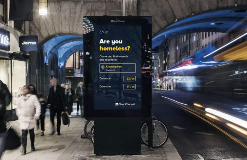 Stockholm replaces billboard ads with homeless shelter maps