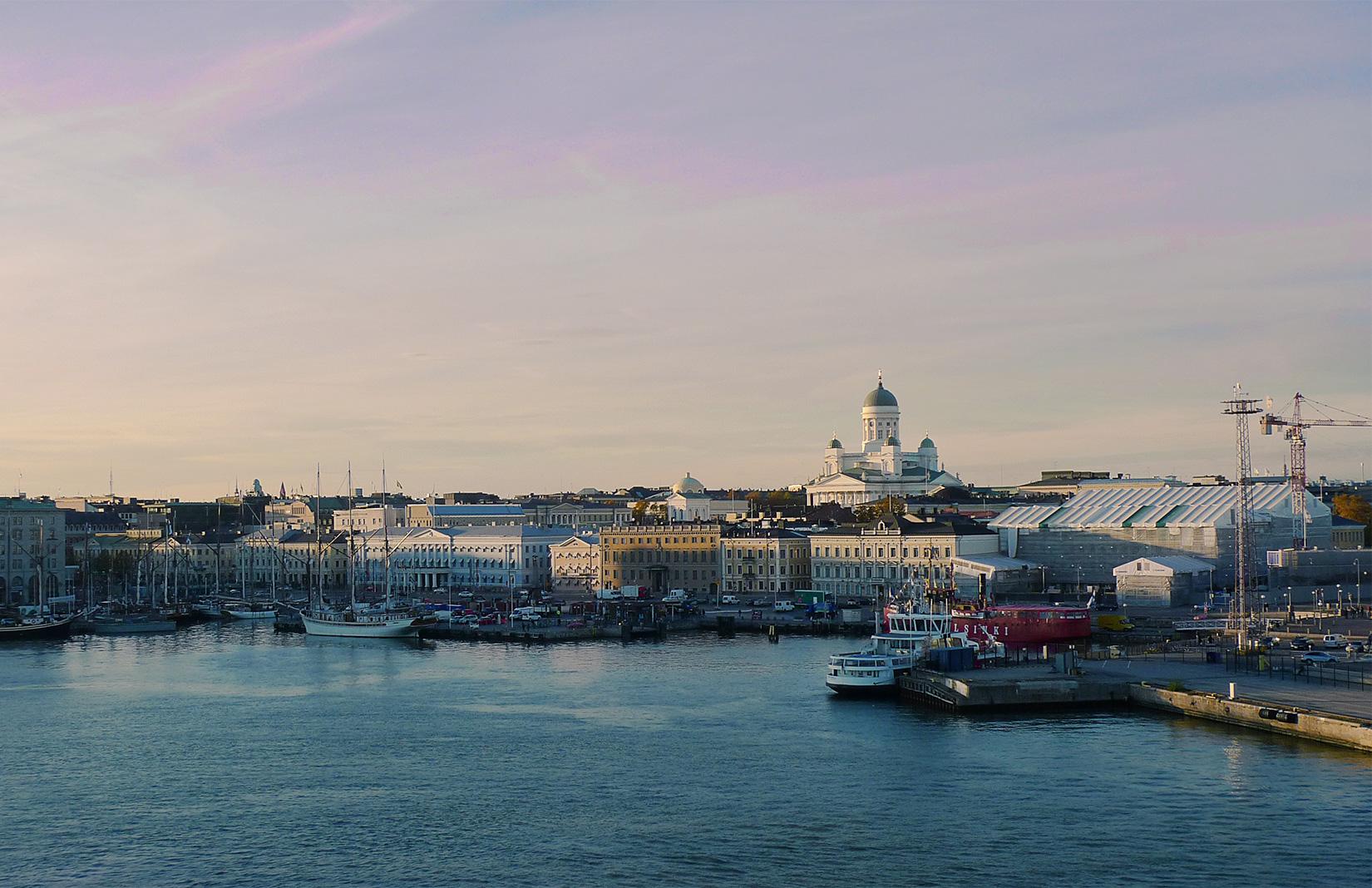 Helsinki Marina and Port at dusk