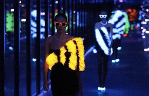 Saint Laurent's AW19 show glows under UV lights