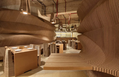 Mumbai cafe interiors are made with cardboard