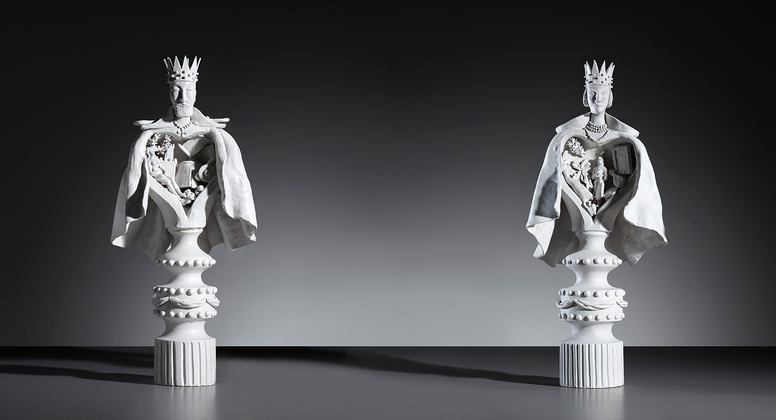 Lot 309: Large king and queen statuettes by Gio Ponti, circa 1951 Estimate: £15,000 - 20,000. Courtesy of Phillips