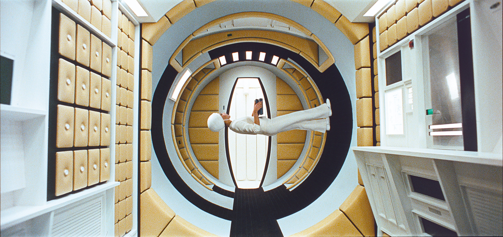The centrifuge stage in 2001: A Space Odyssey. (c) The Stanley Kubrick Archive