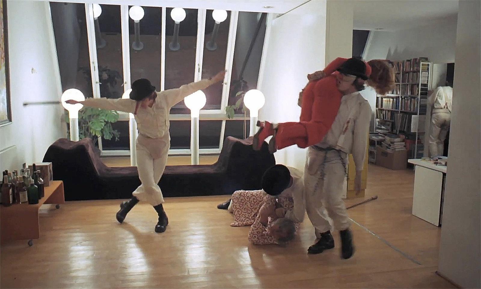 Still from the Jaffe House scene in A Clockwork Orange