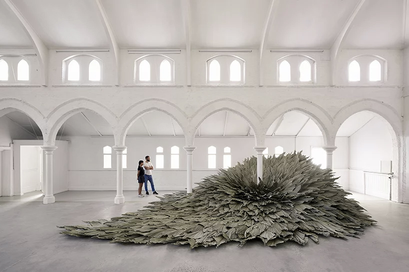 Giant leaves burst out of the ground at Melbourne's The Establishment Studios