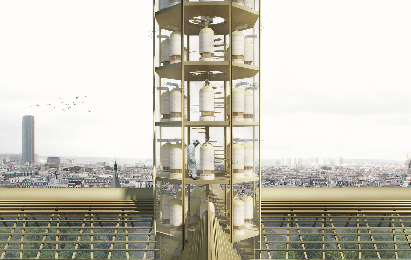Could Notre-Dame's roof be rebuilt as a giant greenhouse? Studio NAB imagines a new spire as a vertical bee hive