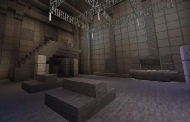 Berghain interiors, recreated on Minecraft
