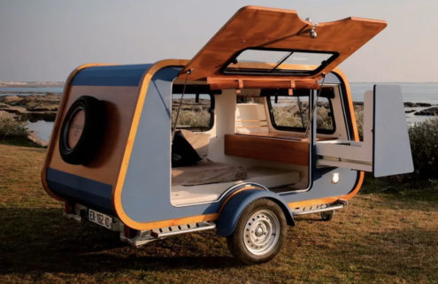 This lightweight trapezoid camper is inspired by a boat