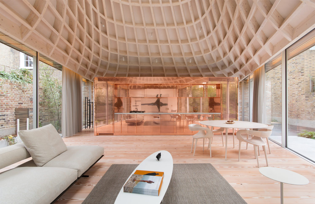 Gianni Botsford's pavilion home, Pembridge Villas, has a swirling basket-like veiling which culminates with an oculus skylight.
