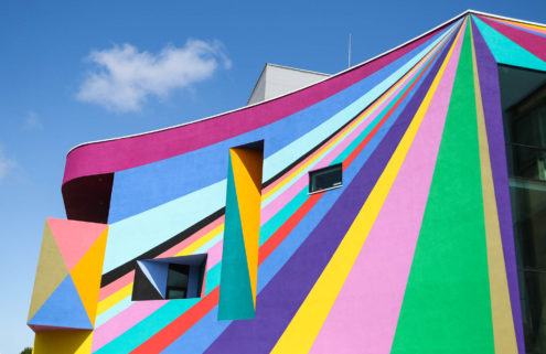 Artist Lothar Götz razzle-dazzles the exterior of Eastbourne's Towner Art Gallery