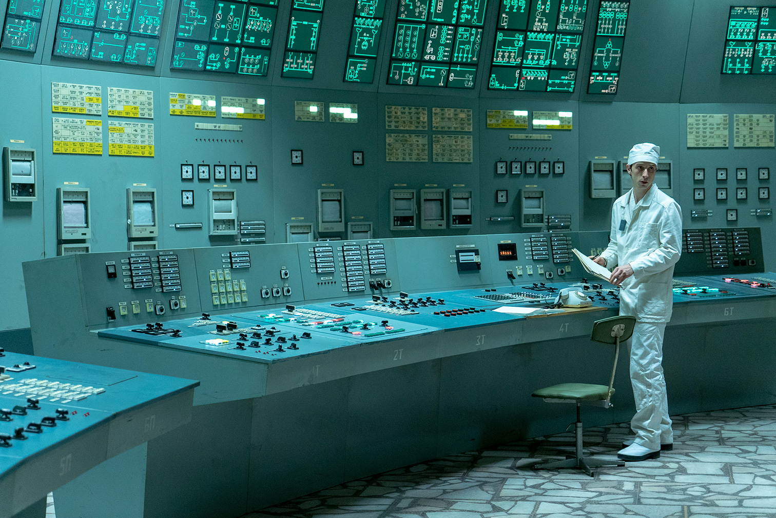 The control room from Chernobyl was recreated using historic photographs
