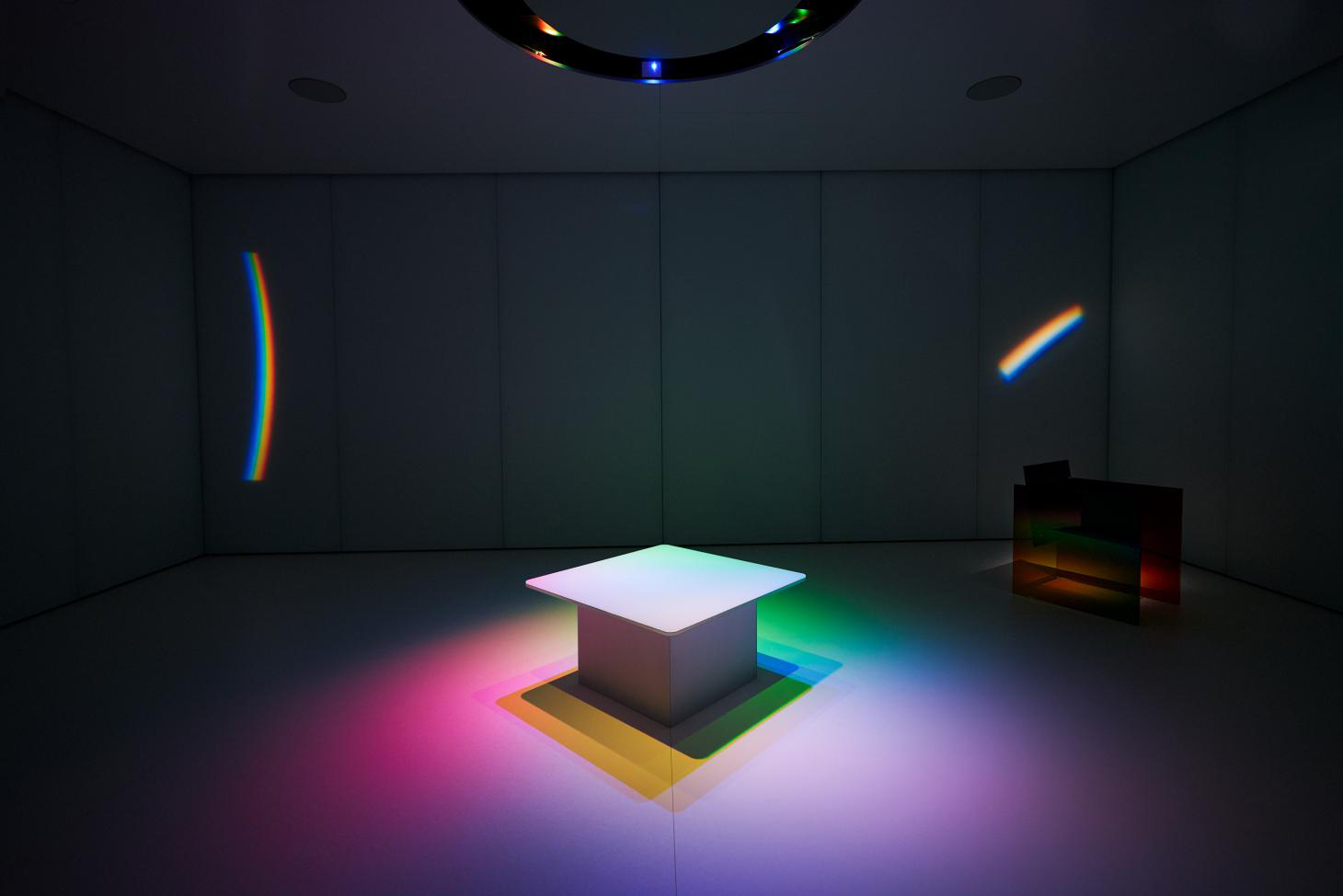 Inside Germans Ermičs' 'Where the Rainbow Ends' pavilion for in Cannes, which features rainbow lighting.
