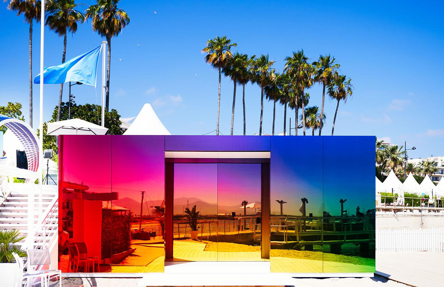 Germans Ermičs designed 'Where the Rainbow Ends' pavilion for Instagram in Cannes which features an ombre sheen