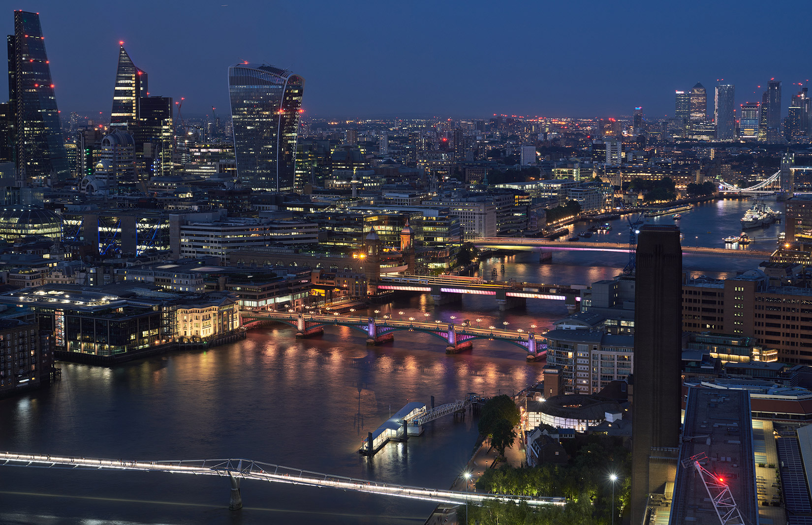 Illuminated River project, viewed from One Blackfriars. Photography: James Newton