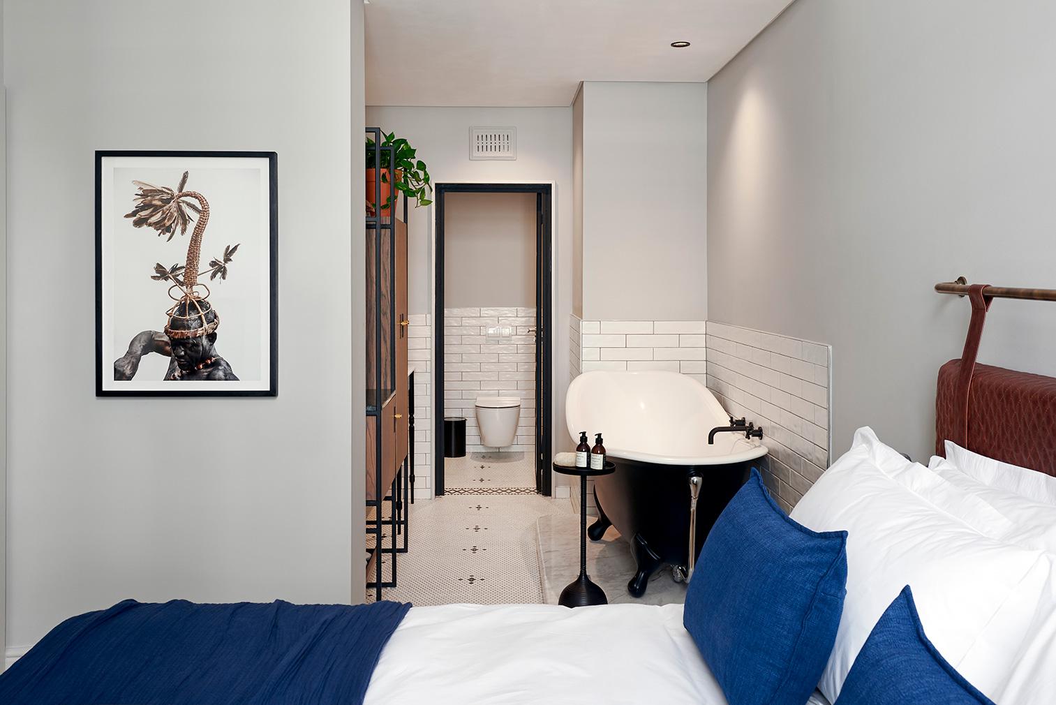 A bedroom suite inside Cape Town's Gorgeous George boutique hotel