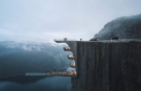 This hotel concept hangs over one of Norway's biggest fjords