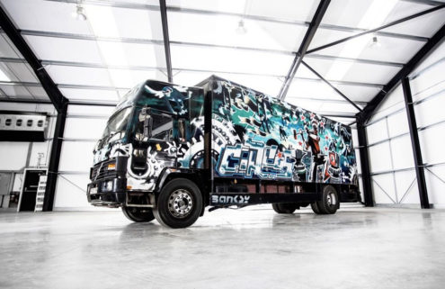 A graffiti-covered truck by Banksy heads to auction