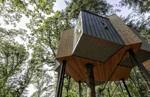 Løvtag cabin is built around a tree in Denmark