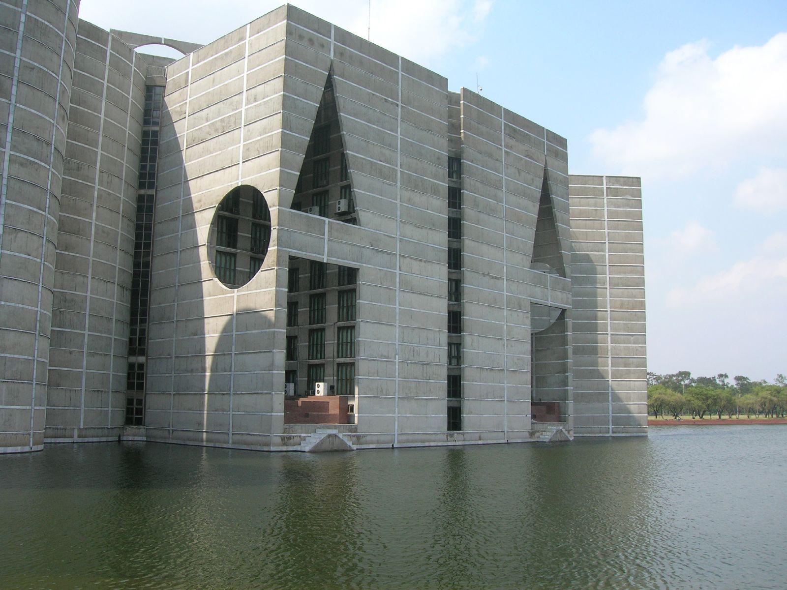 The modernist Jatiya Sangsad Bhaban or National Parliament House of Bangladesh, designed by Louis Kahn and Muzharul Islam