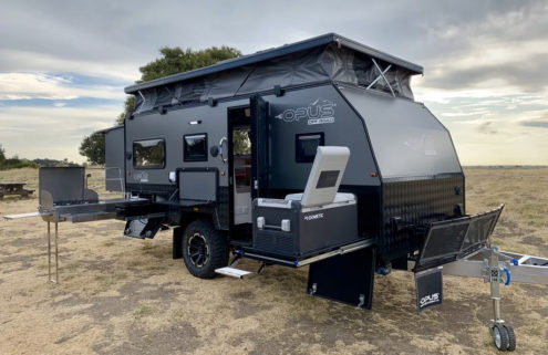 This compact off-road trailer pops up to make room for four