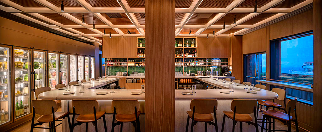 Momofuku's Bar Wayō frames views over New York's East River