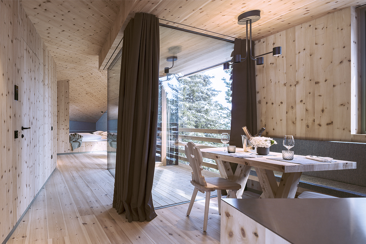Odles Lodge is a minimal mountain chalet that puts the focus on the Alpine views